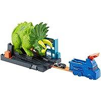 Hot Wheels City Global Nemesis TV, Dinosaurio Triceratops y lanzador de coches de juguete, multicolor (Mattel GBF97)