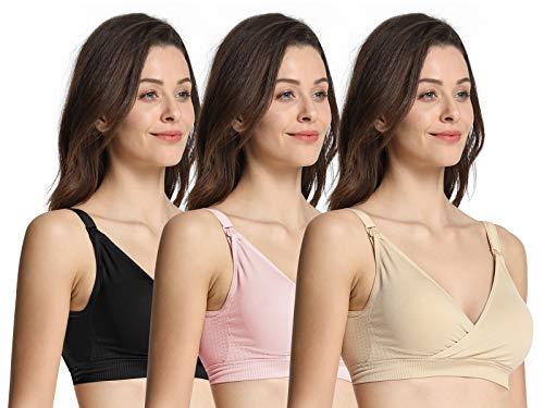 iloveSIA Women's V Neck Nursing Bra Seamless Maternity Breastfeeding Bra Pack of 3 Nude+Black+Light Pink Size M