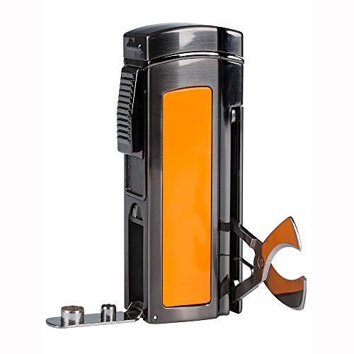PIPITA Winddicht Zigarren Feuerzeuge Sturmfeuerzeug 4 Taschenlampe Jet Rot Flammen Gas Nachfüllbar Metall Feuerzeuges mit Bohrer Zigarrenschneider (Verkauft ohne Gas)