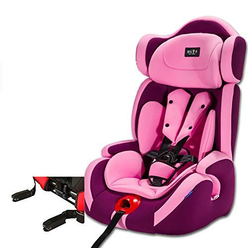 WWLONG Cómodo Asiento para automóvil para niños/niños,Asiento Seguridad para niños con Interfaz Suave isofix para automóvil,Asientos Coche para niños Menores 12 años,9-36 kg niña,Rosa púrpura-ISOFI