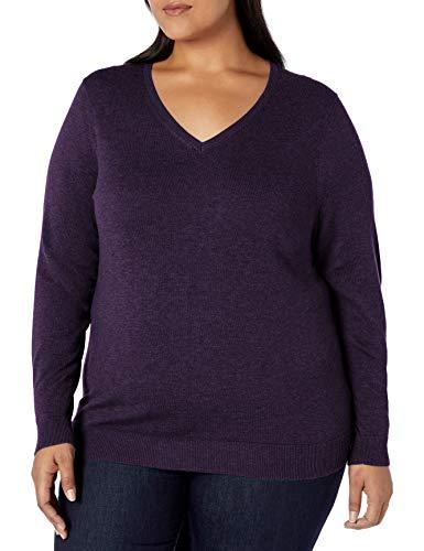 Amazon Essentials Women's Plus Size Lightweight V-Neck Sweater, Purple Heather, 5X