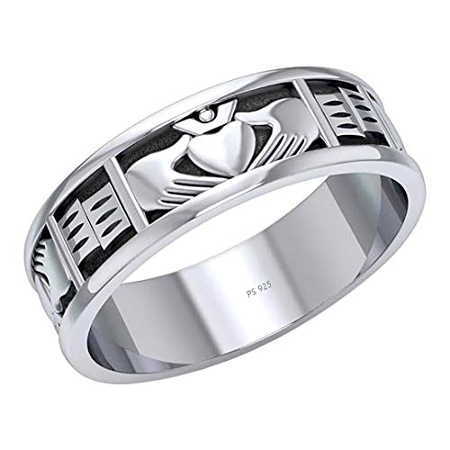 US Jewels Men's 925 Sterling Silver Irish Celtic Claddagh Ring Band, 11
