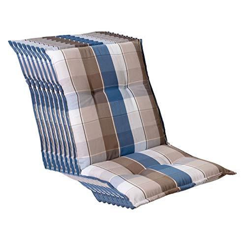Homeoutfit24 Sun Garden - Set di 8 cuscini per sedia da giardino (103 x 52 x 8 cm) Prato, con schienale basso, colore: Blu/Marrone