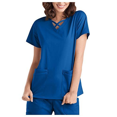 Qinshi Kurzen ?rmeln Damen Kreuzband V-Ausschnitt Pflegekr?fte Tasche Tee Tops Bluse Einfarbig Gro?e Gr??en Sommer Bequem Oberteile