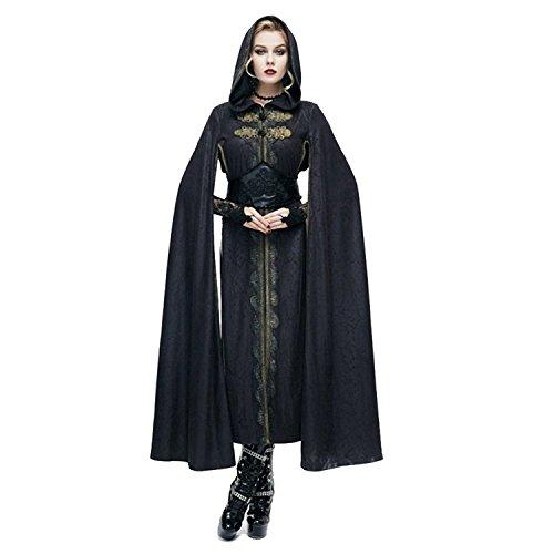 Duivel Mode Gotische Jurk Mantel Vrouwen Hof Hooded Lange Kaap Jas met Riem