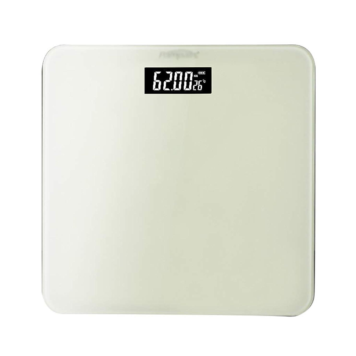 ペレット安息風変わりな体重計 デジタル電子浴室スケール家庭成人精密減量スケール隠されたスクリーンディスプレイUSB充電コンバーチブルユニット電池室温表示30×30センチメートル (色 : 白)
