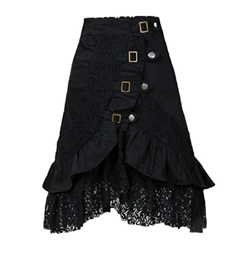 Women's steampunk party club wear punk gothic retro black lace skirt Material: comfortable cotton blend material,to offer you an excellent wearing experience. Design: ruffle,lace,metal buttons and rivets,high waist,irregular skirt Occasions: Perfer f...