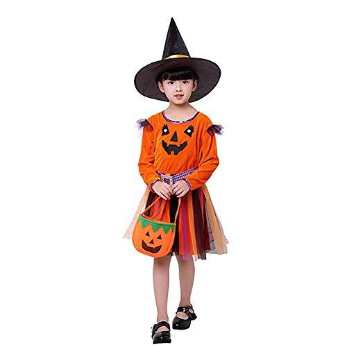 Molinter Disfraz de Halloween para niños, Calabaza, Cosplay, Vestido, con Bolsillo para golosinas, Sombrero de Bruja, Sombrero de Encaje, para niñas, Adecuado para Amantes del balón