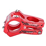 Vástago de Bicicleta Corto de Manillar, 31.8mm Potencia para Bicicleta Montaña Elevador de Vástago de Manillar Bar Stem Tallo de Barra para Bicicleta de Carretera Ciclismo MTB BMX Fixie Gear (Rojo)
