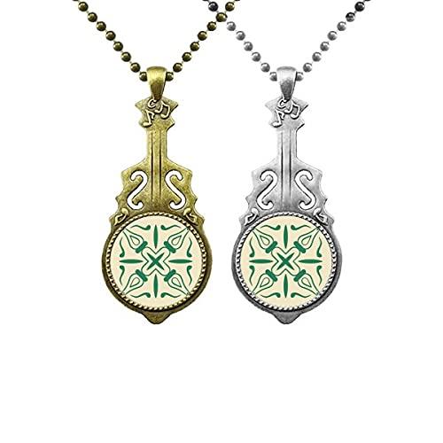 Talavera Style Dekoratives grünes Muster Liebhaber Musik Gitarre Anhänger Schmuck Halskette Anhänger