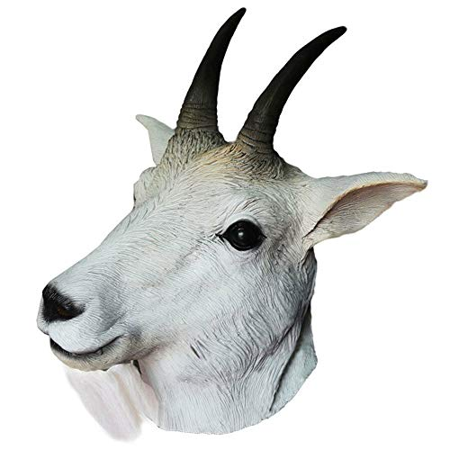 Rubber Goat Antelope Animal Head Mask Latex Sheep Mask Halloween Fancy Dress Up Carnival Party White