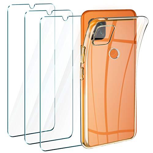 Leathlux Cover Compatibile con Xiaomi Redmi 9C Trasparente con 3 Pellicola Vetro Temperato, Morbido Silicone Protettivo Bumper TPU Gel Smartphone Custodia Case