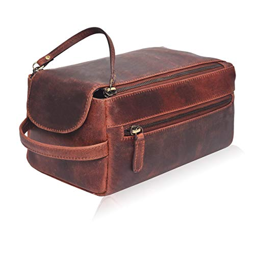 Leather Toiletry Bag for Men and Women - Hanging Water Resistant Travel Dopp Kit
