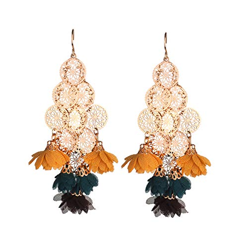 Nicole Miller New York Layered Round Rosegold Filigree Orange Green Brown Flowers Dangle Earrings