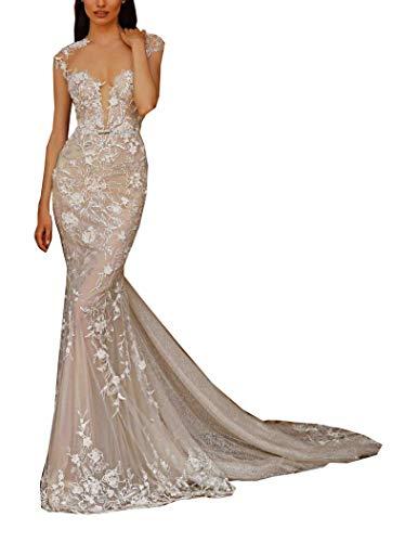 Damen Illusion Hals Kurze Ärmel Spitze Perlen Meerjungfrau Hochzeitskleider für Braut mit Zug Tüll Braut Ballkleider Gr. 54, weiß