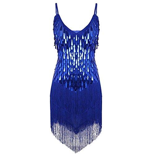 iiniim Vestido Latino Mujer para Danza Clásica Salsa Tango Samba Rumba Vestido con Lentejuelas Flecos Flequillos Borla Brillante Traje de Baile Latino Danza Latina Talla Única Azul One_Size