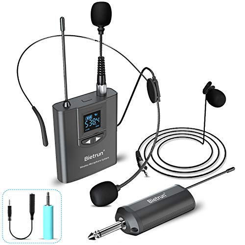 Wireless Lavalier Microphone, Headset Mic, Clip on Mic, Handheld Mic, UHF Wireless Microphone System, Rechargeable Transmitter Receiver, 165 ft Range, 1/4
