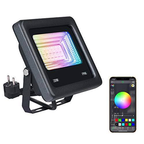 Vicloon Foco LED de 20W, Foco LED RGB de Colores de Proyector...