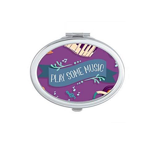 Elektrische Piano Muziek Headset Geluiden Ovaal Compact Make-up Spiegel Draagbare Leuke Hand Pocket Spiegels Gift