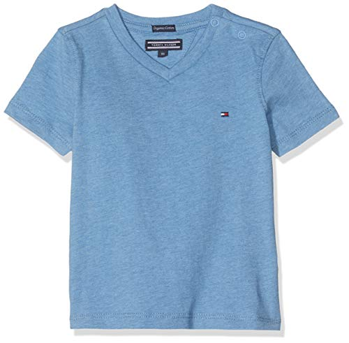 Tommy Hilfiger Jungen Boys Basic Vn Knit S/S Regular Fit T-Shirt, Blau (Dark Allure Heather 408), 152 ( Herstellergröße: 12)