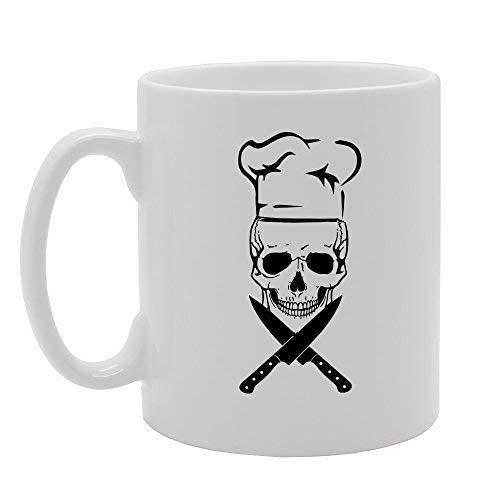 N\A Esqueleto Cráneo Chef Cuchillo Regalo Novedad Regalo Cerámica Taza De Café