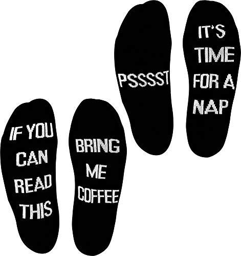 normani 2 Paar Lustige Socken Herrensocken mit verschiedenen Sprüchen - Geschenkidee Farbe Coffee/Nap