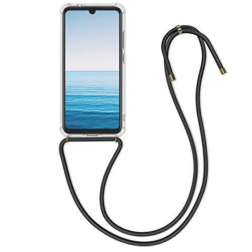 kwmobile Necklace Hülle kompatibel mit Xiaomi Redmi Note 7 / Note 7 Pro - Hülle Silikon mit Handykette - Band Handyhülle Transparent Schwarz