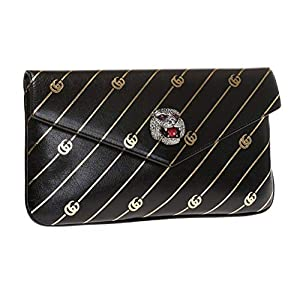 Fashion Shopping Gucci Black Broadway Animalier GG Archive Leather Envelope Clutch Handbag Bag 525008