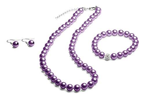 Perlenkette geknotet - Perlenarmband - Perlenohrringe - Set Lila