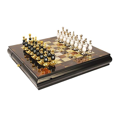Ajedrez Juego de tableros de ajedrez clásico, tablero de ajedrez de lujo de gama alta con tablero de juego de ajedrez del viaje de viaje de la pieza interior para la sala de estudios, tablero de ajedr