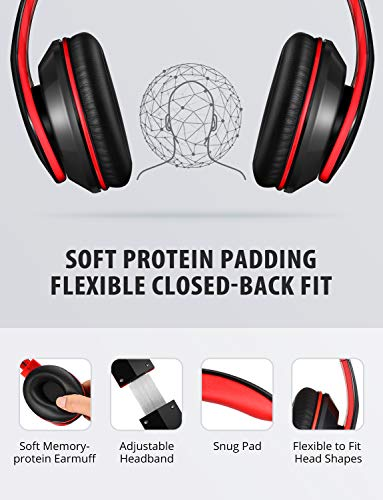 Mpow 059 Bluetooth Headphones Over Ear, Hi-Fi Stereo Wireless Headset, Foldable, Soft Memory-Protein Earmuffs, w/Built-in Mic Wired Mode PC/Cell Phones/TV 5