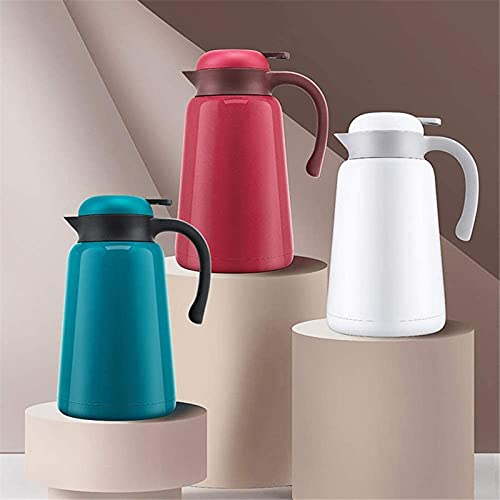 MXCHEN - Jarra de café térmica para uso doméstico, hervidor de agua fría y caliente de gran capacidad durante 12 horas para café y té calientes (Color: Rojo, Tamaño: 1.9L)