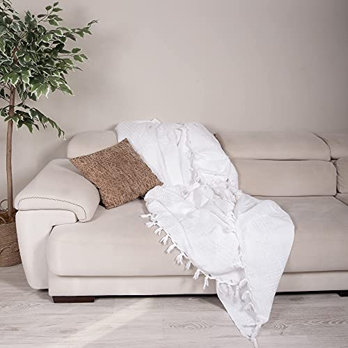 Milam London 100%Cotton Waffle Bedspread Throw For 2 - 3 Seater Sofa Settee Couch Bed I King Size 220 x 240 cm White