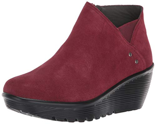 Skechers Women's Parallel-Ditto-Asymmetrical Collar Suede Bootie Ankle Boot, Burgundy, 11 M US
