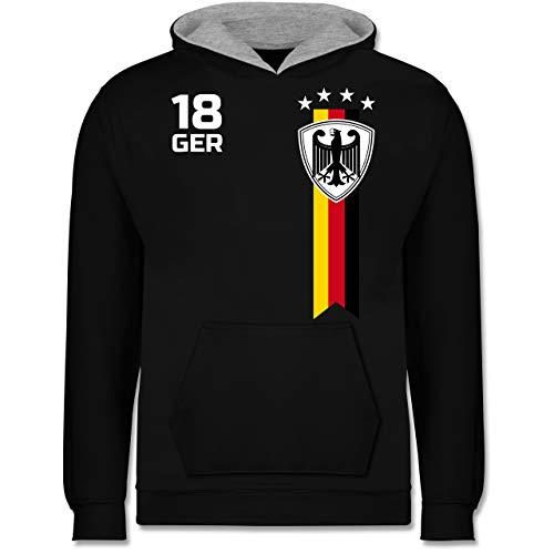Fußball-Europameisterschaft 2021 Kinder - WM Fan-Shirt Deutschland - 152 (12/13 Jahre) - Schwarz/Grau meliert - Kinder Pullover - JH003K - Kinder Kontrast Hoodie