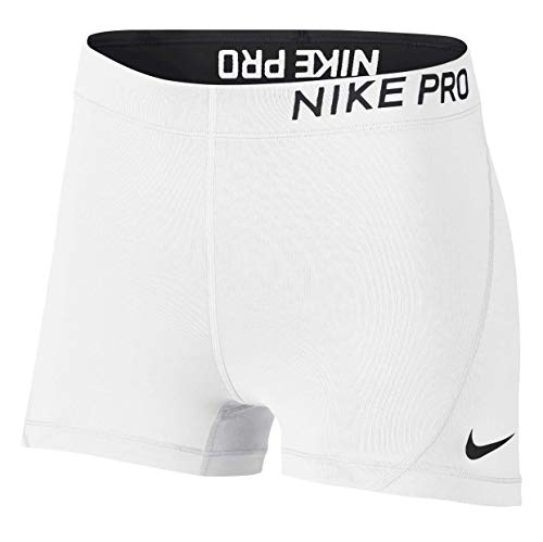 Nike Womens 3' Pro Compression Short (White/Black, Small)