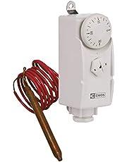 EMOS P5682 thermostaat met capillaire sensor, analoog, temperatuurregelaar voor verwarming, verwarmingssystemen, waterverwarming en koelsystemen, wit, 38 x 54 x 105 mm