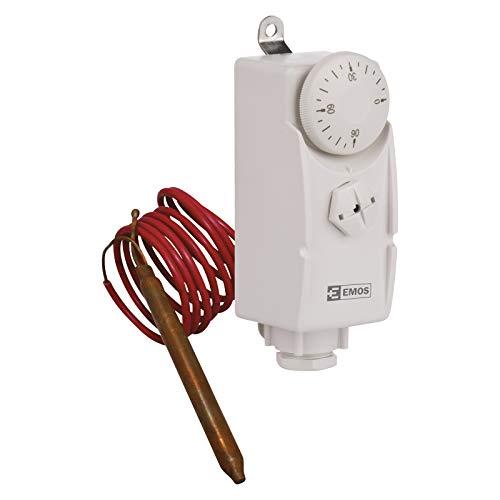 EMOS P5682 Thermostat mit Kapillarsensor, analog, Temperaturregler für Heizung, Heizungssysteme, Wasserheizung und Kühlungssysteme, Weiß, 38 x 54 x 105 mm