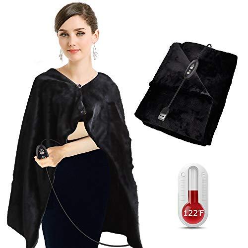 Beheizte Decke Schal Wrap Poncho USB wiederaufladbare elektrische Heizkissen für Rücken und Schultern Plüsch Flanelldecke für Auto Office Home Travel - Maschinenwaschbar