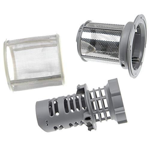vhbw Feinsieb- / Schmutzsieb-Set (3-teilig) Ersatz für Constructa/Neff 00418404 für Geschirrspüler - Spülmaschinensieb, 9cm, silber/grau