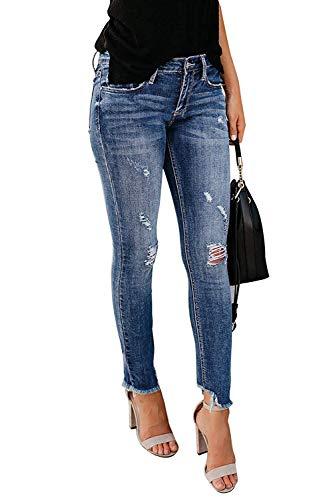 Minetom Jeans Damen Jeanshosen Röhrenjeans Skinny Slim Fit Stretch Boyfriend Zerrissene Destroyed Straight Denim Hose mit Löchern B Blau EU S