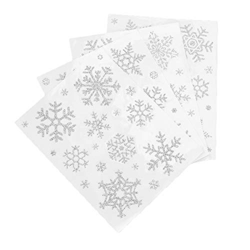 Toyvian 4 Pezzi Adesivi Natalizi Fiocchi di Neve Decorazioni Natalizie Decorazioni per casa Negozio (Argento)
