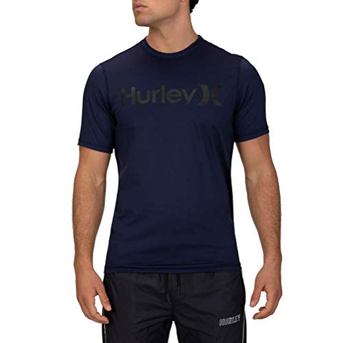 Hurley Men's Standard One and Only Short Sleeve Sun Protection Rashguard, Obsidian, L