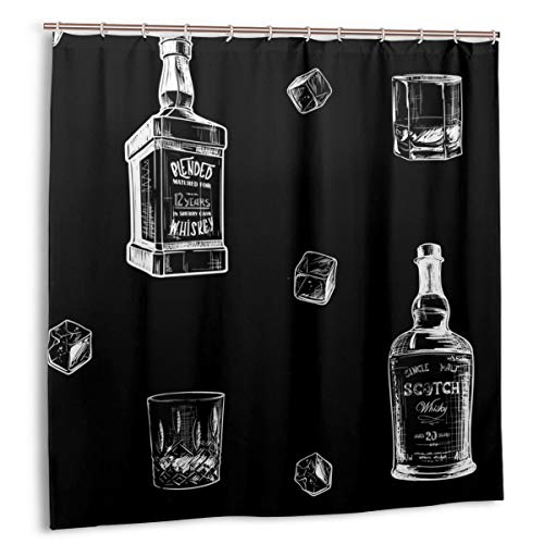 DmiGo Duschvorhang,Zutaten für den besten Whisky-Geschmack.Flaschen,Klassen und Eiswürfel.Nahtloses Stoff-Badezimmerdekorset mit Haken 180 cm x 180 cm