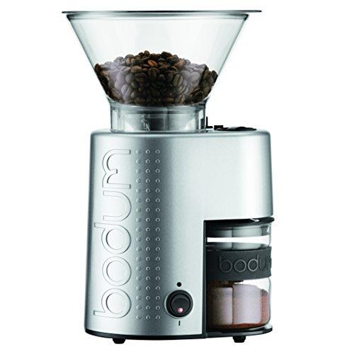 Bodum Bistro Elektrische Kaffeemühle, Kegelmahlwerk, Silber