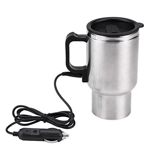 Auto Wasserkocher Elektrische, 12V, Haofy 450 ml In-Car Wasserkocher Tasse, Reisewasserkocher, Zigarettenanzünder Thermobecher zum Warmhalten von Wasser, Kaffee oder Tee bei 65 ° C, Edelstahl