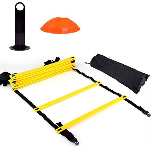 Outbit Agility Ladder Cones - Speed Agility Trainingsleiter-Kit - 12 verstellbare Flache Sprossen und 10 Kegel (orange/gelb)