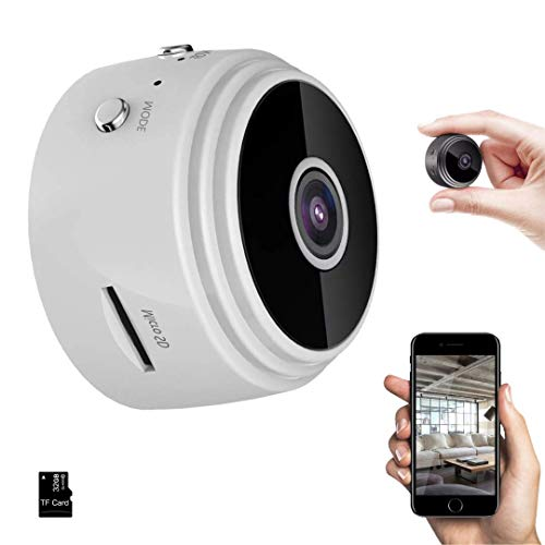 JIC Cámaras espía Oculta, Cámaras Espía WiFi 1080P HD, con IR Visión Nocturna Detector de Movimiento, Grabadora de Video, Camaras de Seguridad Pequeña para Interior/Exterior Blanco