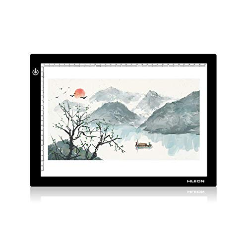 Huion L4S Light Box - 17.72 Inches USB ADJUSTABLE Illumination Light Panel only 5mm Thin Light Table with 5 A4 Tracing Papers and 1 Non-woven Bag L14.17' x W10.63' x H0.2'