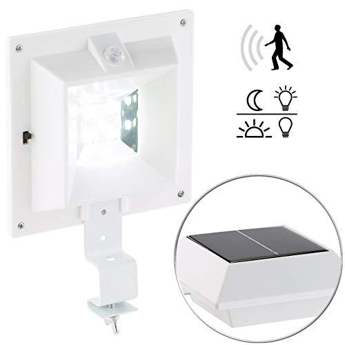 Lunartec Solarleuchte Dachrinne: Solar-LED-Dachrinnenleuchte mit PIR-Sensor, 160 lm, 2 Watt, IP44, weiß (Dachrinnen-Leuchten)